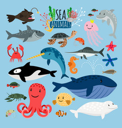 Sea animals underwater animal creatures vector