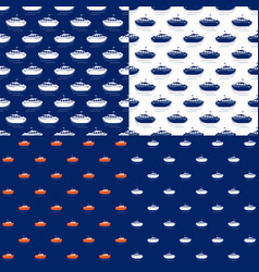 seamless maritime pattern with lifeboat vector image