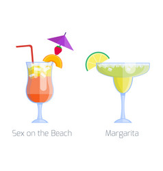 Set alcoholic cocktails isolated fruit cold vector