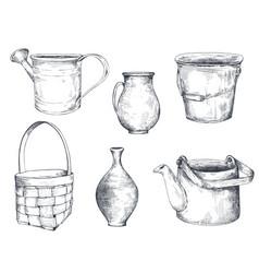 Set black and white hand drawn vases vector
