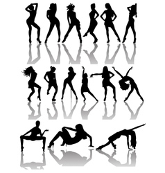 Set of Silhouettes of Dancing Couple and Girls vector