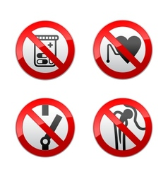Set prohibited signs - medicine vector