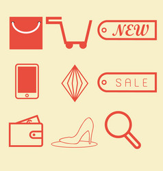 shopping icon on red vector image