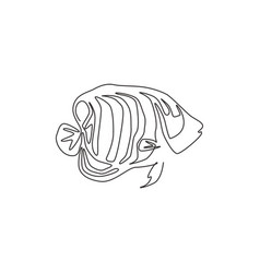 Single one line drawing funny regal angelfish vector