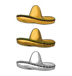 sombrero vintage color engraving vector image