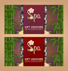 Spa salon gift certificate wood texture vector