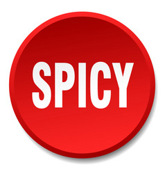 Spicy red round flat isolated push button vector