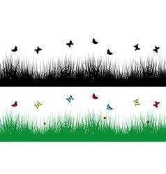 Spring borders with grass and butterflies vector image