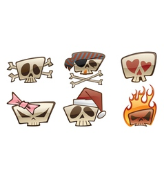 square skull icons two vector image