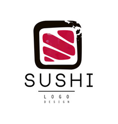 Sushi logo design badge for sushi bar or seafood vector