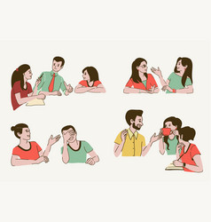 talking people smiling young women and men vector image