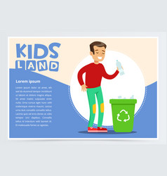 Teenager boy throwing away plastic bottle in waste vector
