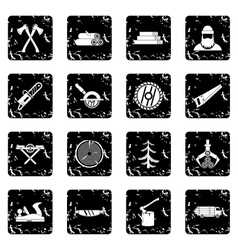 Timber industry set icons grunge style vector