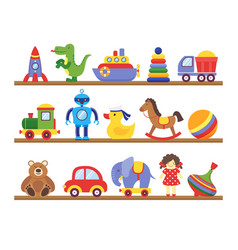 toys on shelves cartoon toy on bashopping vector image