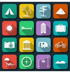 Travel icons collection vector
