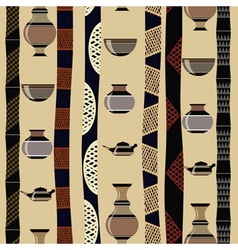 Tribal seamless texture with utensils vector image