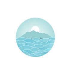 tropical island beach vacation sign symbol vector image