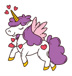 unicorn with wings and heart vector image