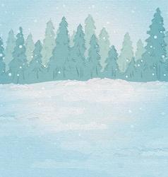 Vintage background winter forest landscape vector