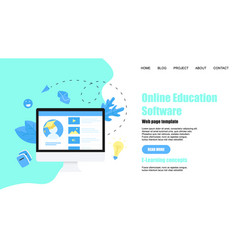 Webpage template online education app vector