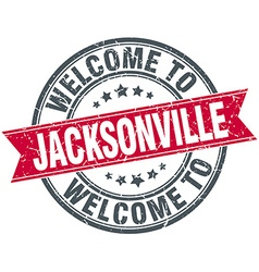 Welcome to Jacksonville red round vintage stamp vector