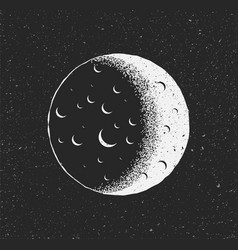 white moon on black starry background hand drawn vector image