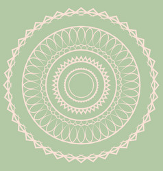 white simple mandala on a green background vector image