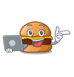 With laptop cheese burger isolated on a mascot vector