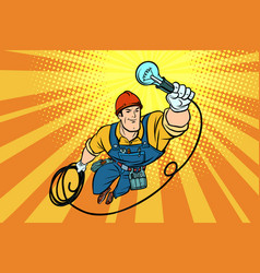 Worker electrician light bulb flying superhero vector