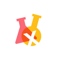 x letter lab laboratory glassware beaker logo icon vector image