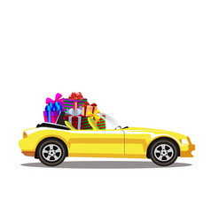 yellow modern cartoon cabriolet car full of gift vector image
