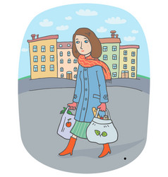 young woman with tote bags goes from the city vector image
