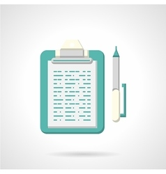 Blue clipboard with pen flat icon vector image