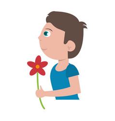 Boy with flower bouquet present vector