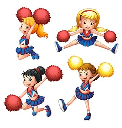 Four cheerdancers with their pompoms vector image vector image