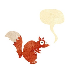 funny startled squirrel cartoon with speech bubble vector image vector image