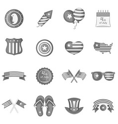 independence day icons set monochrome vector image