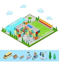 Isometric City School Building with Swimming Pool vector image vector image