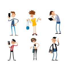 six modern teenagers vector image