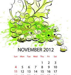 calendar with fruit for 2012 november vector image vector image