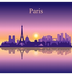 Paris silhouette on sunset background vector