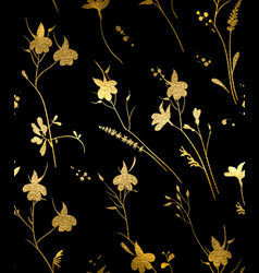 seamless gold floral pattern on a black background vector image vector image
