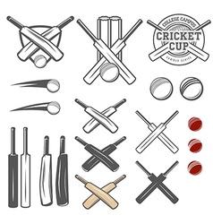 Set of cricket team emblem design elements vector image