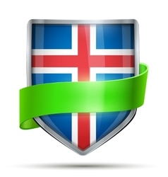 Shield with flag Iceland and ribbon vector image