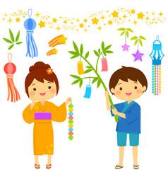 tanabata cartoon set vector image vector image