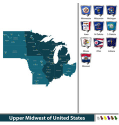 Upper midwest of united states vector