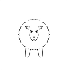 white sheep outline vector image