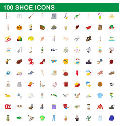 100 shoe icons set cartoon style vector image vector image