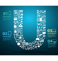 Application icons alphabet letters U design vector image