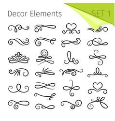 calligraphy scroll elements decorative retro vector image